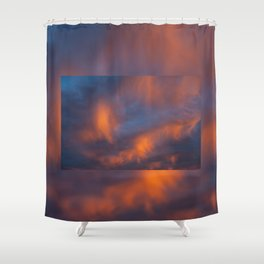 orange light on cirrus clouds and blue sky Shower Curtain