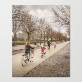 Winter Scene People at Park, Lucca, Italy Canvas Print