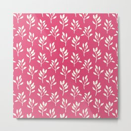 Modern neon pink ivory watercolor hand painted floral Metal Print