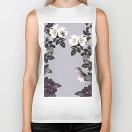 Birds and the Bees Blue Gray Biker Tank