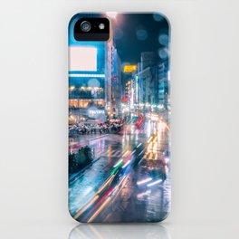 Rainy Night at Shibuyacrossing - throught the window iPhone Case