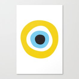 Yellow Evil Eye Symbol Health Protection Canvas Print