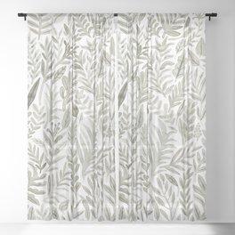 Grey Botanical Sheer Curtain