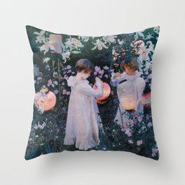Carnation, Lily, Lily, Rose Throw Pillow