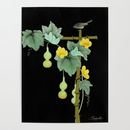 Squash Vine and Bird Poster