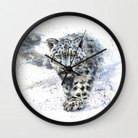 snow leopard Wall Clocks featuring snow leopard by KOSTART