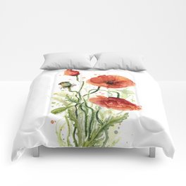 Red Poppies Watercolor Flower Floral Art Comforters