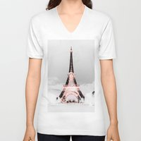 paris V-neck T-shirts featuring pariS Black & White + Pink by 2sweet4words Designs