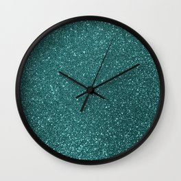Aqua Teal Turquoise Glitter Wall Clock