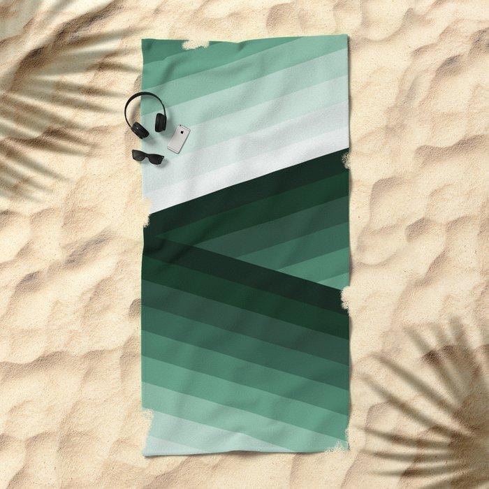 Serene Contemporary Green Ombre Design Beach Towel
