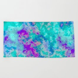 Turquoise and purple cloud art Beach Towel