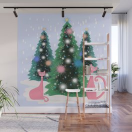 Pink And Perfect Kitty Cats In The Sparkling Snow Wall Mural