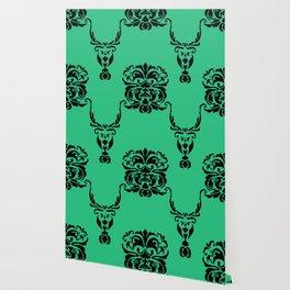 Lion Vs Gazelle Damask Print Wallpaper