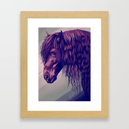 Purple horse portrait Framed Art Print