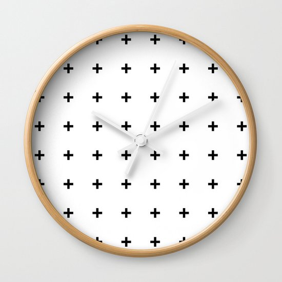 Black Plus on White /// www.pencilmeinstationery.com Wall Clock