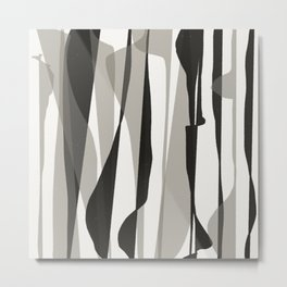 Moon Lit Ripples - Black & White Minimalism Metal Print
