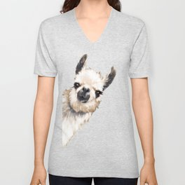 Sneaky Llama in Pink Unisex V-Neck