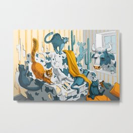 Crazy cats claw the cow's couch Metal Print