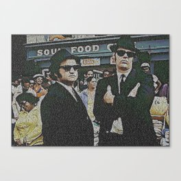 Text Portrait of Blues Brothers with full script of the movie The Blue Brothers Canvas Print
