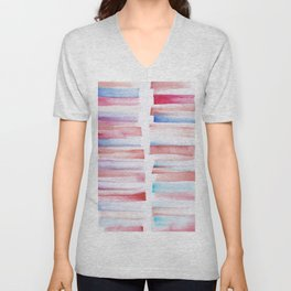 13 | 181101 Watercolour Palette Abstract Art | Lines | Stripes | Unisex V-Neck