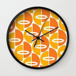 Mid Century Modern Orange Gold Wall Clock