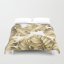 Gold Monstera Leaves on White 2 Duvet Cover
