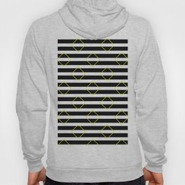 Black And White Stripes And Yellow Squares Pattern Hoody