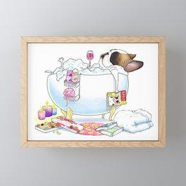 French Bulldog in the Tub Framed Mini Art Print