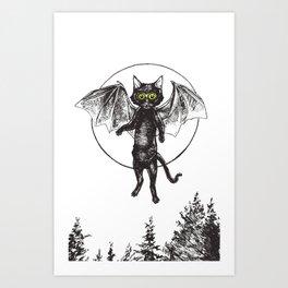 Batcat Rises Art Print