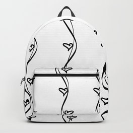 Black and White Hearts and Strips Backpack