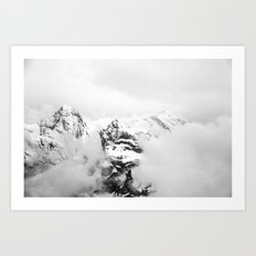 Foggy mountains (Black and white) Art Print