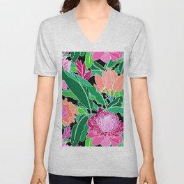 Bird of Paradise + Ginger Tropical Floral in Black Unisex V-Neck