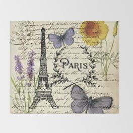 french botanical print purple butterfly lavender floral paris eiffel tower Throw Blanket