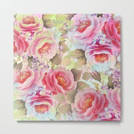 floral in soft pink,blue and green Metal Print
