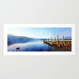 Derwentwater Shore and Dock, Lake District, UK. Watercolor Painting. Art Print