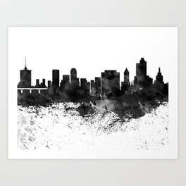 Tulsa Black White Drops Skyline Art Print
