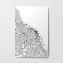 Buenos Aires White Map Metal Print