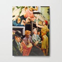 Classical Masterpiece 'Boston - Girl on the Subway' by Thomas Hart Benton Metal Print