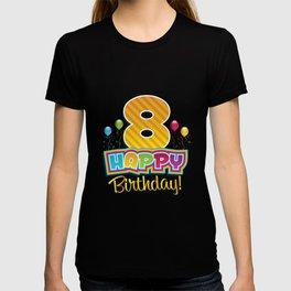 Kids Happy 8th Birthday Kids Bday Party T-shirt