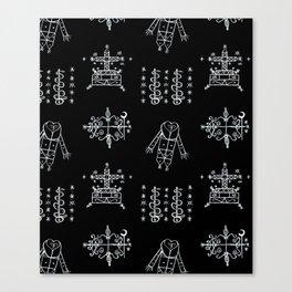 Papa Legba + Baron Samedi + Gran Bwa + Damballah-Wedo Voodoo Veve Symbols in Black Canvas Print