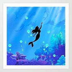Beauty Mermaid Blue Sea Art Print