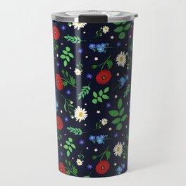 Swedish Folk Flowers Travel Mug