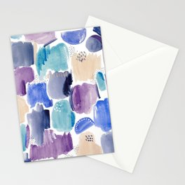 Marking making abstract pattern - deep blue purple peach and teal Stationery Cards