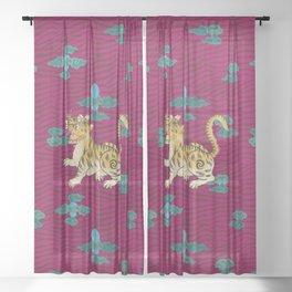 FOO TIGER ON MAGENTA Sheer Curtain