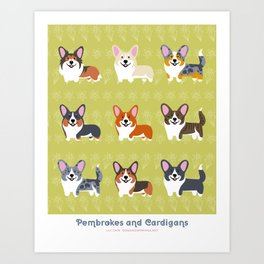 Pembrokes and Cardigans - CORGIS Art Print