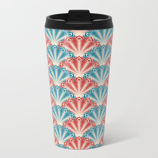 Colorful Abstract Peacock Feather Pattern Metal Travel Mug