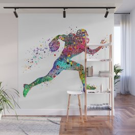 Football Player Sports Art Print Watercolor Print American Football Wall Mural