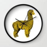 alpaca Wall Clocks featuring huacaya alpaca by youareconstance