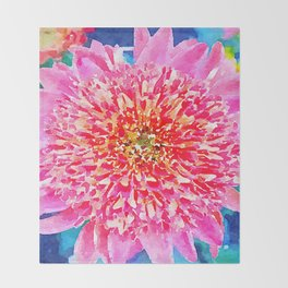 Pink Watercolor Flower Throw Blanket