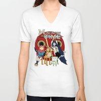 mononoke V-neck T-shirts featuring Mononoke Time by RebelArtCollective